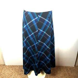 Women's Cato Blue Plaid Long Maxi Skirt Plus sz 14